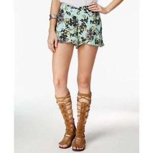 Free People- mint floral shorts